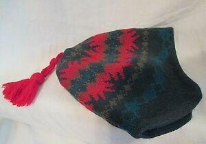 VINTAGE Wool/Nordic PATAGONIA Red Tassel France Winter Beanie ONE SIZE