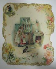 """Antique Vintage Victorian Children Farm Animals Diecut Card 12"""" x 10"""" Embossed"""