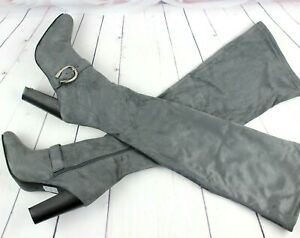 Ladies Grey Block Heel Zip Up Stretch Thigh High Over The Knee Boots Shoes Size