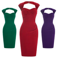 Retro Style 1960s 50s Housewife Wiggle Pencil Evening Party Midi Bodycon Dress