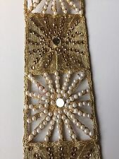 ATTRACTIVE INDIAN CUTWORK GOLD PEARLS IN STRIPS LACE/TRIM - Sold By Metre
