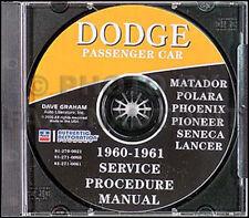 1960 1961 Dodge Auto CD Manuale di Negozio Polara Dart Matador Lancer Pioneer