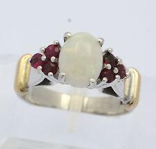 Ring in aus 18 kt 750er Weiß Gelb Gold mit Milchopal Opal Topas Rot Gr. 58 Damen