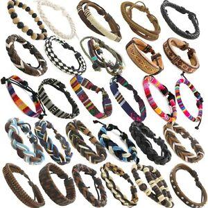 Mens / Boys Braid Leather Bracelet Friendship Jewellery Wristband Surfer Styles