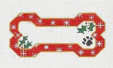 Danji Red Holly & Snowflakes Dog Bone & Paw Print HP Needlepoint Canvas Ornament