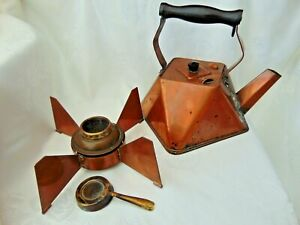ANTIQUE VINTAGE ART DECO 1920s CUBISM COPPER KETTLE WITH WARMER BASE STAND