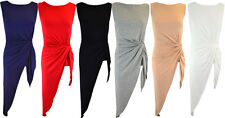 Women Sleeveless Side Knot Twist Drape Asymmetric Slit Split Maxi Top Blouse UK