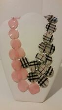 Gorgeous designer pink and silver plaid resin short statement necklace