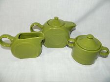 Cantinaware Olive Green Tea Set Small Teapot sugar Bowl & Creamer Vintage retro