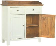 Country Two-Tone Solid Wood Cabinet Gallery Back Drawers/Cupboards White/Honey