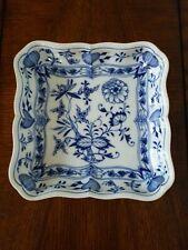 Vintage Meissen Blue And White Porcelain Square Dish