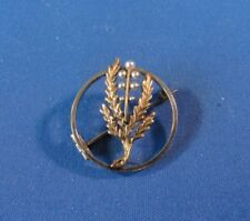 Gold Floral Design Circle Pin / Brooch Antique Artist Created 14K Yellow & White