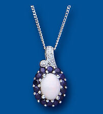 Sapphire and Opal Pendant With Diamond Necklace Solid Sterling Silver