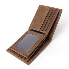 Vintage Men's Genuine Leather Bifold Wallet Cards Photo Holder Purse Money Clip