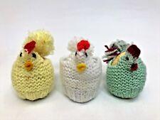 Vintage 3 Cute Crochet Hen Egg Warmers on wood eggs