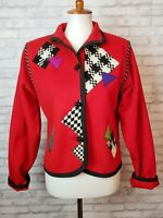 Lynn Murray artsy jacket red wool felt with houndstooth appliques size Small