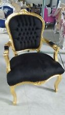 CHAIRS FRANCE BAROQUE STYLE LADY CHAIR WITH ARMRESTS GOLD / BLACK #55F3