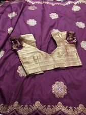Purple Soft Silk Saree Designer Blouse & Fall Stitched Size 34- 40