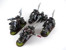 3 x Ravenwing Bikes - Bikeschwadron + Trike der Dark Angels - bemalt -