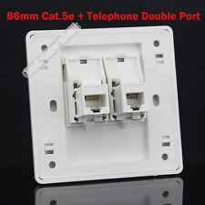 Wall Socket Plate One RJ45 CAT5 5E LAN + One RJ11 Telephone Panel Faceplate