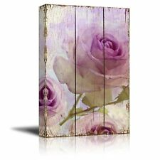 Wall26 - Branches of Purple Roses Over Wooden Panels - Canvas Art - 16x24 inches
