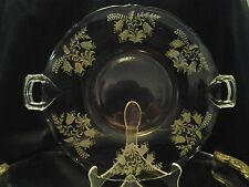 Vintage Clear Double Handle Serving Plate with Etched Floral Pattern