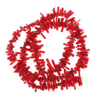 9-12mm 16'' Strand Red Bamboo Sapling Sea Coral Branch Beads Charm Jewelry