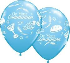 "On Your Communion Symbols Pale Blue Qualatex 11"" Latex Balloons x 25"