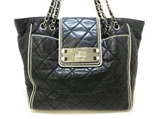 Auth CHANEL East West Black White Lambskin Tote Bag