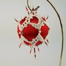 Vintage Hand Made Christmas Ornament Satin Ball With Crochet Red Beaded