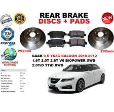 FOR SAAB 9-5 YS3G SALOON 2010-2012 292mm REAR BRAKE DISCS SET + BRAKE PADS KIT