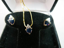 "14k Yellow Gold RCI Italy Trillion Sapphire Diamond 16"" Chain Post Earrings 4.8g"