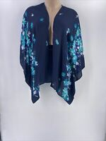Catherine Woman 2X 3X Blouse Kimono Open Front Wide Sleeve Blue Floral New