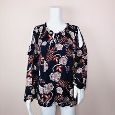 Style Co Large Top NEW Blue Cold Shoulder Floral Tie Neck $54