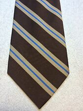 Vintage Prince Consort Golden Clasp Mens Tie 4.25 X58 Brown, With Beige And Blue