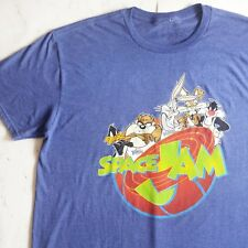 Mens Adult XL Space Jam Tee Shirt Blue Bugs Bunny Daffy Duck Looney Tunes Taz
