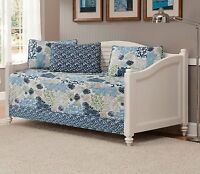 Fancy Linen 5pc DayBed Coverlet Floral Modern Blue Beige New
