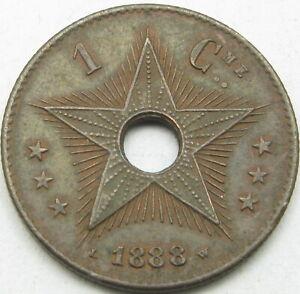 CONGO (Free State) 1 Centime 1888 - Copper - XF- 2439 ¤
