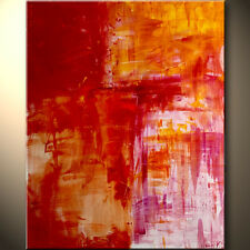 Huge Modern Abstract Painting red hot pink orange big contemporary art by Anya