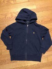 POLO RALPH LAUREN Navy Yellow Horse Fleece Jacket Coat Boys Girls Sz S 8 👗#c4