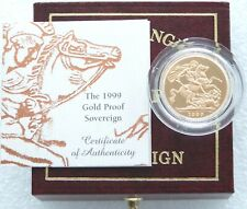 1999 Royal Mint St George and Dragon Gold Proof Full Sovereign Coin Box Coa