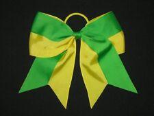 "NEW ""Two-Tone YELLOW & GREEN"" Cheer Bow Pony Tail Ribbon Girls Hair Cheerleading"