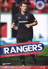 2010/11 RANGERS V DUNFERMLINE Scottish League Cup 21-09-2010 (MINT)