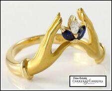 Estate Authentic Carrera y Carrera 18K Gold Diamond & Sapphire Ring  sz 5.75