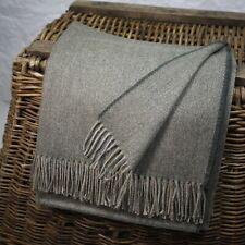 Dark Olive Green 100% Wool British Made Tweed Fabric Blanket Throw *Not Harris