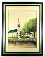 Church & Steeple Rural Landscape Original Watercolor 21 x 27 Framed Signed SEW