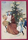 Vintage Santa Claus Postcard~Artist Signed Raphael Kirchner~Santa, Children,Tree
