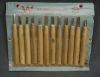 +++ VTG A WECO PRODUCT 12 PC WOOD CARVING SET ASSORTED SIZE - JAPAN +++