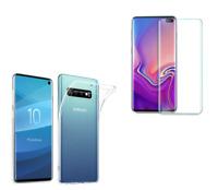 Coque Silicone Transparent + Film Vitre Verre Trempé Incurvé Samsung Galaxy S10