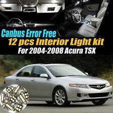 12Pc 2004-2008 Acura TSX Canbus Error Free White Car Interior LED Light Bulb Kit